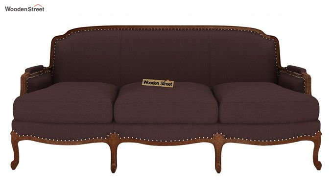 Margret 3 Seater Sofa (Fabric, Classic Brown)-2