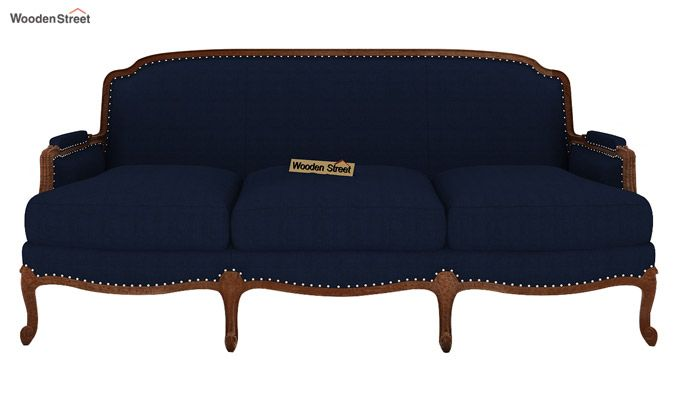 Margret 3 Seater Sofa (Fabric, Indigo Ink)-2