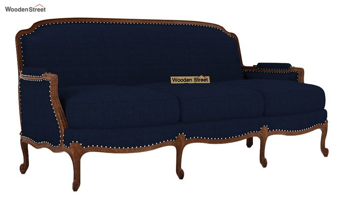 Margret 3 Seater Sofa (Fabric, Indigo Ink)-1