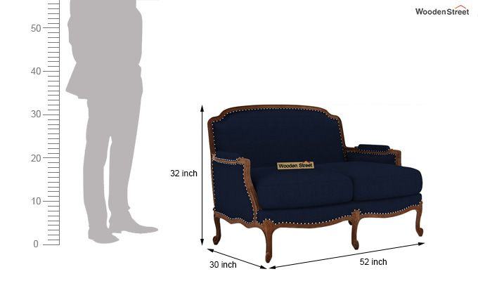 Margret 2 Seater Sofa (Fabric, Indigo Ink )-3