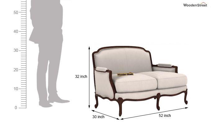Margret 2 Seater Sofa (Fabric, Ivory Nude)-3