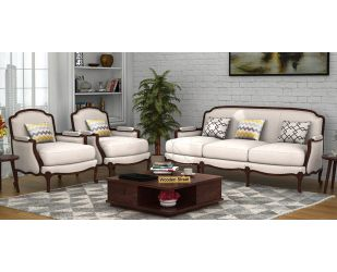 Margret 3+1+1 Seater Sofa (Fabric, Ivory Nude)