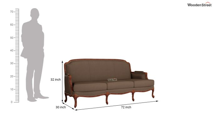 Margret 2 Seater Sofa (Fabric, Classic Brown )-11