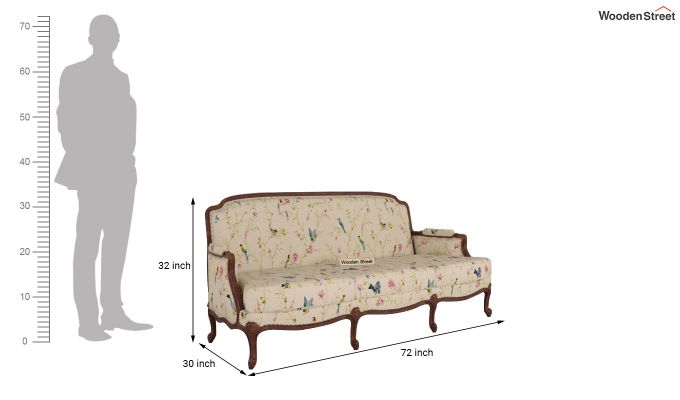 Margret 2 Seater Sofa (Linen, Cream Robins)-11