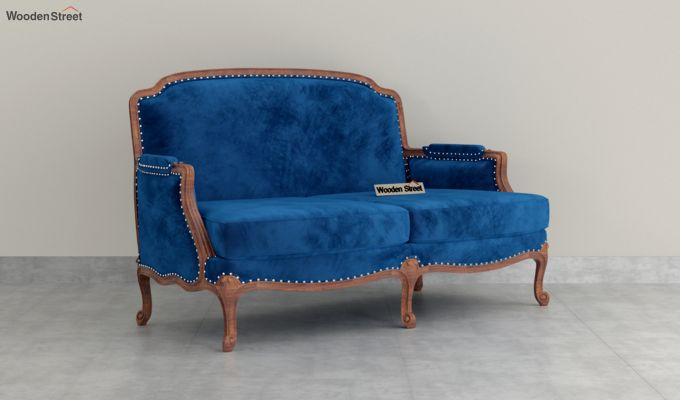 Margret 2 Seater Sofa (Velvet, Indigo Blue)-2