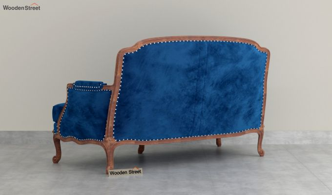 Margret 2 Seater Sofa (Velvet, Indigo Blue)-4