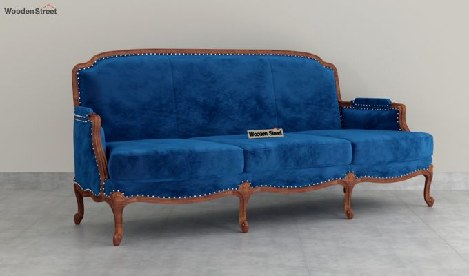 Margret 2 Seater Sofa (Velvet, Indigo Blue)-7