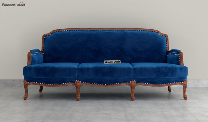Margret 2 Seater Sofa (Velvet, Indigo Blue)-8