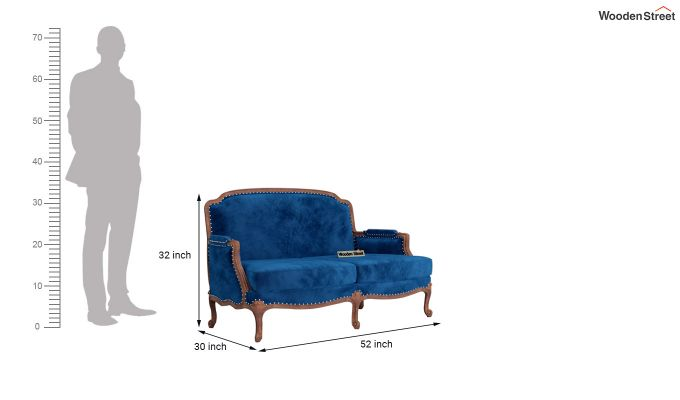Margret 2 Seater Sofa (Velvet, Indigo Blue)-10