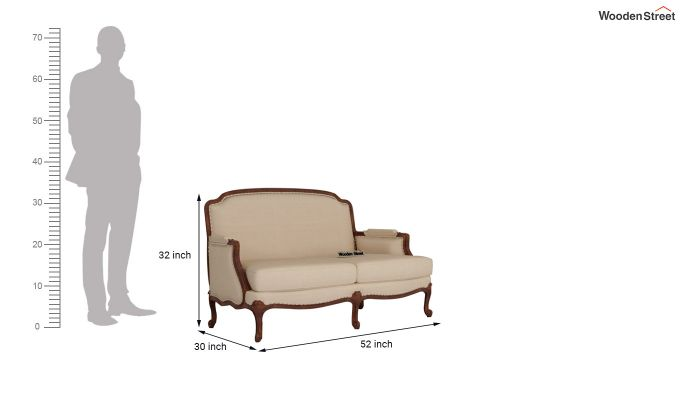 Margret 2 Seater Sofa (Fabric, Irish Cream)-10