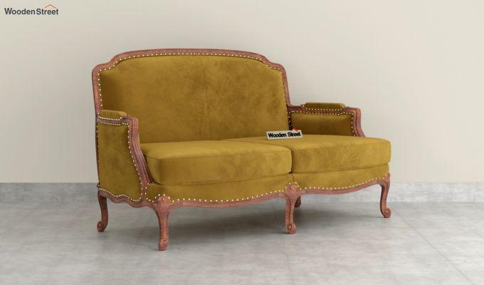 Margret 2 Seater Sofa (Velvet, Chestnut Brown)-2