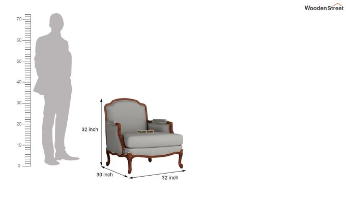 Margret 2 Seater Sofa (Fabric, Warm Grey )-9