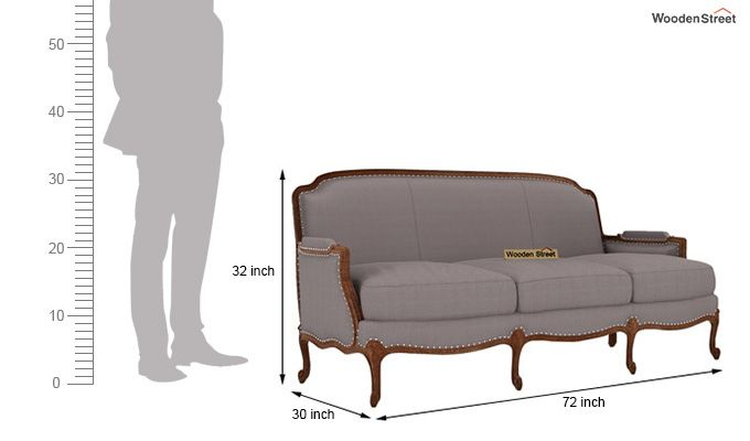Margret 3 Seater Sofa (Fabric, Warm Grey)-3