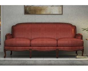 Margret 3 Seater Sofa (Leatherette, Burnt Umber)