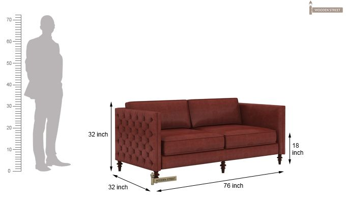 Marley 3 Seater Sofa (Leatherette, Burnt Umber)-5