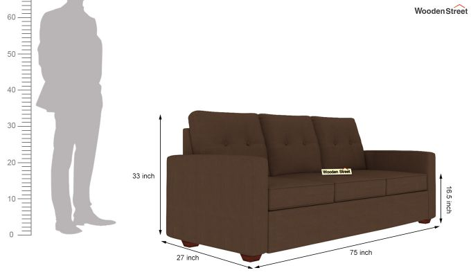 Nicolas 3 Seater Sofa (Classic Brown)-4