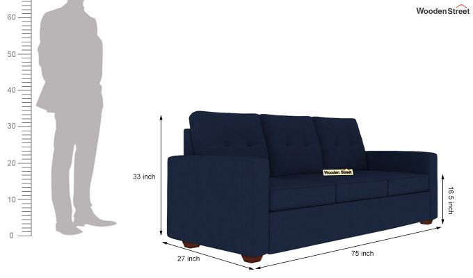 Nicolas 3 Seater Sofa (Indigo Ink )-4