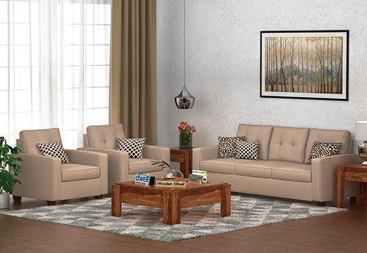 Nicolas 3+1+1 Fabric Sofa Set  (Irish Cream)