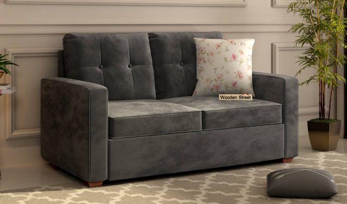 Nicolas 2 Seater Sofa (Velvet, Graphite Grey)-1