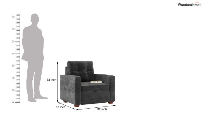 Nicolas 2 Seater Sofa (Velvet, Graphite Grey)-9