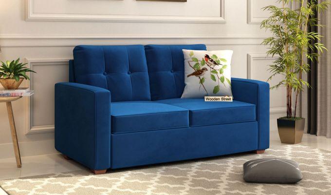 Nicolas 2 Seater Sofa (Velvet, Indigo Blue)-1