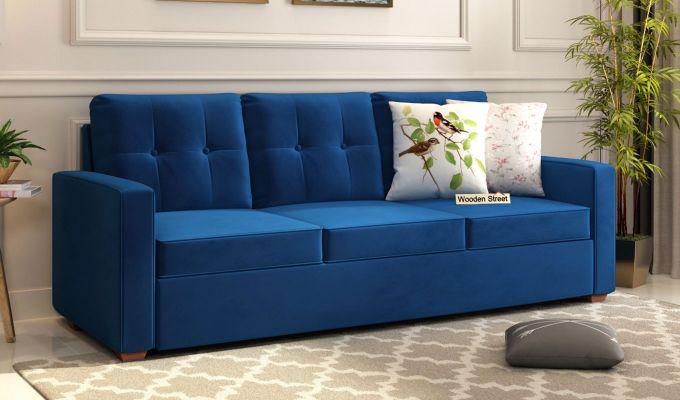 Nicolas 2 Seater Sofa (Velvet, Indigo Blue)-7