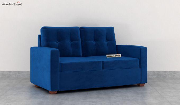 Nicolas 2 Seater Sofa (Velvet, Indigo Blue)-2