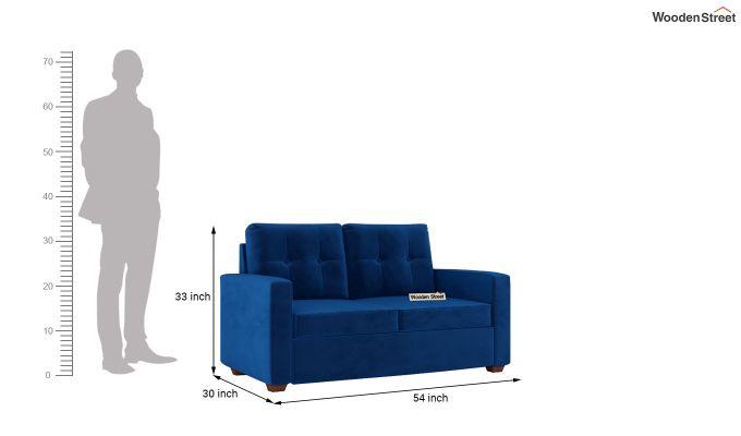 Nicolas 2 Seater Sofa (Velvet, Indigo Blue)-10