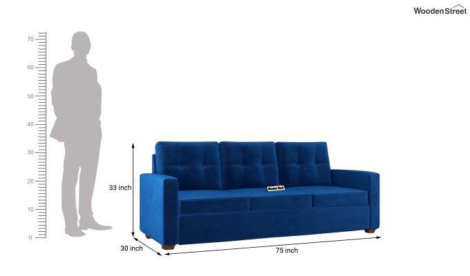 Nicolas 2 Seater Sofa (Velvet, Indigo Blue)-11