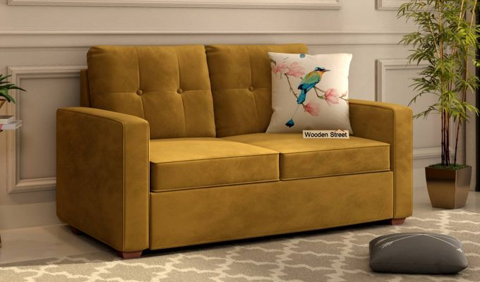 Nicolas 2 Seater Sofa (Velvet, Chestnut Brown)-1