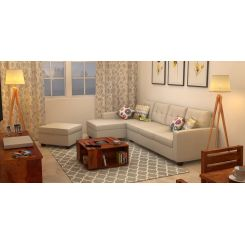 Nicolas Left Aligned 3 Seater + Chaise + Ottoman (Ivory Nude)