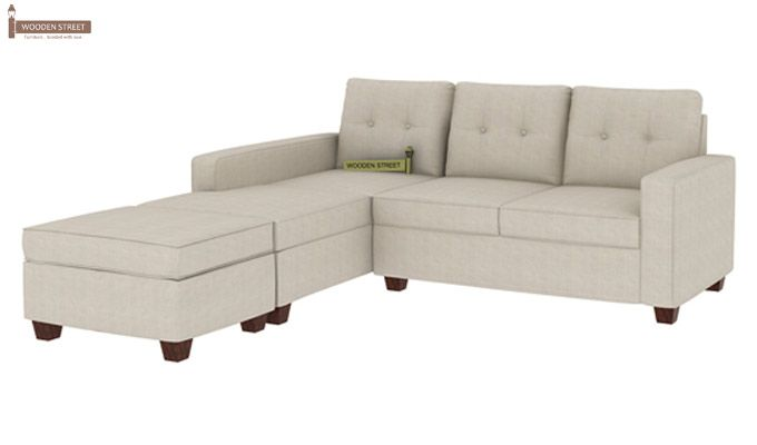 Nicolas Left Aligned 2 Seater + Chaise + Ottoman(Ivory Nude)-1