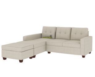Nicolas Left Aligned 2 Seater + Chaise + Ottoman(Ivory Nude)