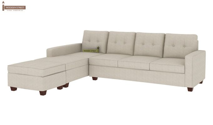 Nicolas Left Aligned 3 Seater + Chaise + Ottoman (Ivory Nude)-1