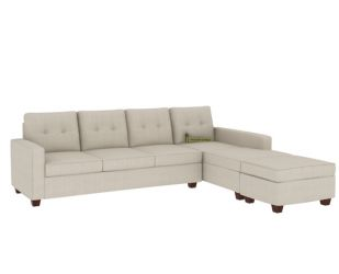 Nicolas Right Aligned 3 Seater + Chaise + Ottoman (Ivory Nude)