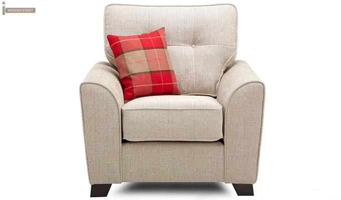 Archerd 1 Seater Fabric Sofa (Ivory)-1