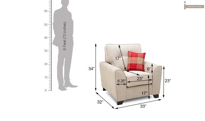 Archerd 1 Seater Fabric Sofa (Ivory)-4