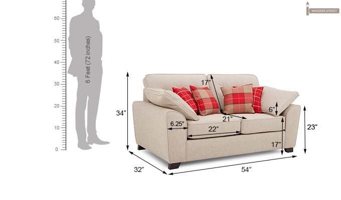 Archerd 2 Seater Fabric Sofa (Ivory)-4