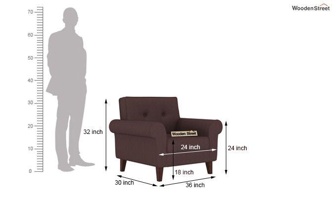 Orlando 1 Seater Sofa (Classic Brown)-3