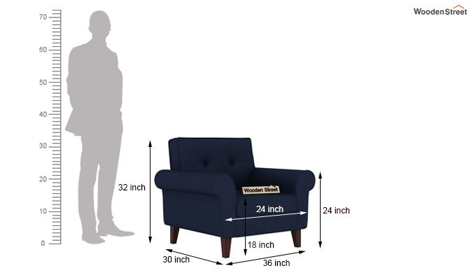 Orlando 1 Seater Sofa (Indigo Ink)-5