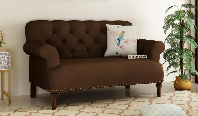 Parker 2 Seater Sofa (Fabric, Classic Brown)-1