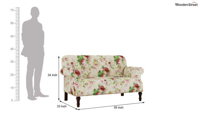 Parker 2 Seater Sofa (Fabric, Cream Blossom)-7