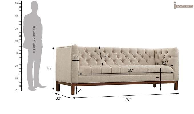 Parslo 3 Seater Fabric Sofa (Ivory Nude)-5