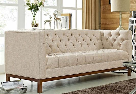Parslo 3 Seater Fabric Sofa (Off-White)