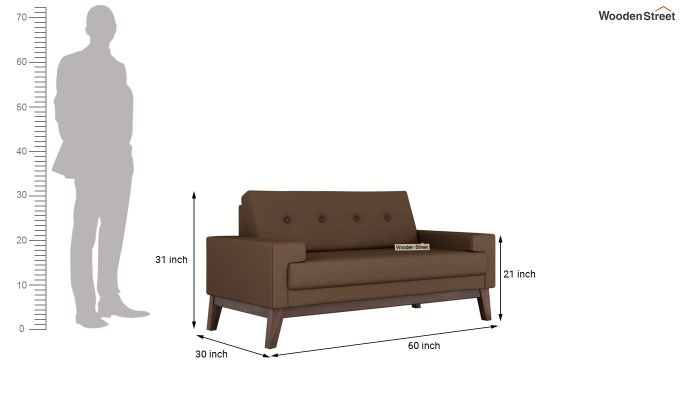 Richie 2 Seater Sofa (Fabric, Classic Brown)-10