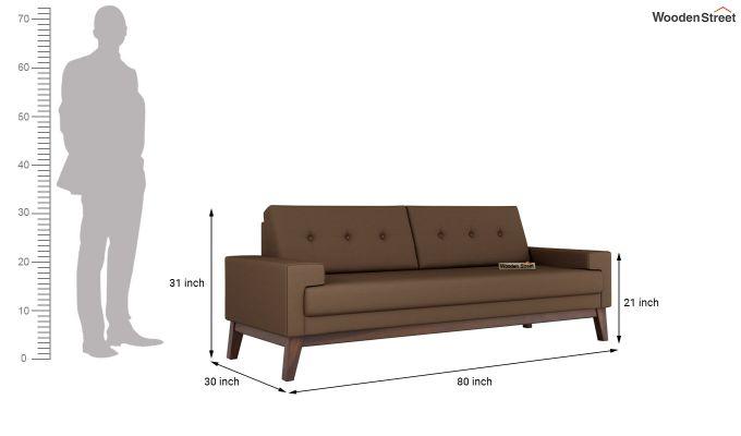 Richie 2 Seater Sofa (Fabric, Classic Brown)-11