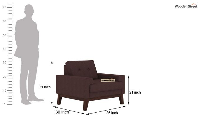 Richie 1 Seater Sofa (Classic Brown)-3