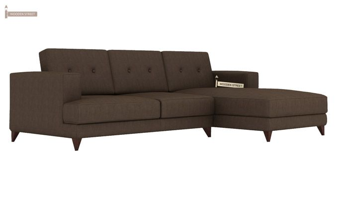 Robert L Shape Fabric Sofa (Classic Brown)-1