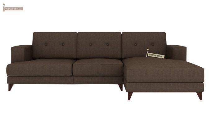 Robert L Shape Fabric Sofa (Classic Brown)-2