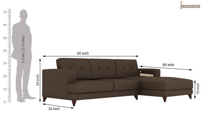 Robert L Shape Fabric Sofa (Classic Brown)-4